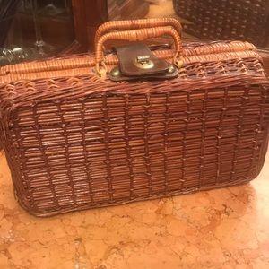Vintage brown wicker handbag
